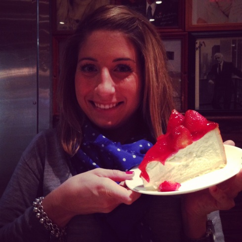 Cheesecake for breakfast at Carnegie Deli in NYC.