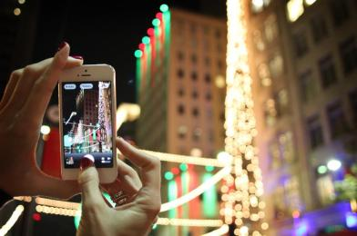 Taking photos of the gorgeous downtown lights