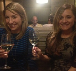Lauren and I drinking our wine and laughing at the local KC Weatherman photo bombing our pic.