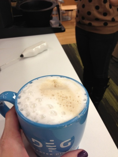 9am - Froth my coffee.