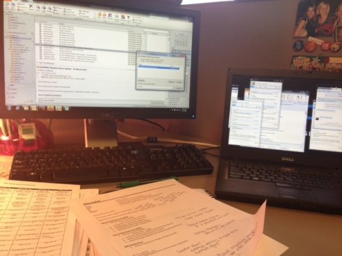8:45am - Settle into my messy desk.