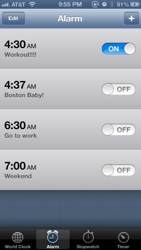 10pm - Set alarm for tomorrow morning gym workout!