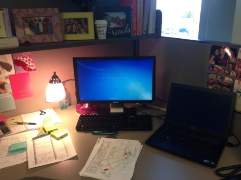 8:40am - Woohoo start my day!!! I will clean my desk tomorrow I suppose :)