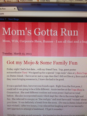 11:30am - Catch up on the blog world. Ever read Mom's Gotta Run? If not, you should. Jen is awesome and has overcome so much. I was lucky to be connected to her through the NYC Marathon experience. Jen had everything she had taken from her in the hurricane. Seriously, the girl is amazing.