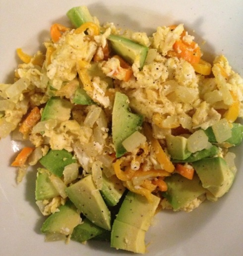 7:45pm - Eat an easy dinner. Peppers, onion, avocado, eggs.