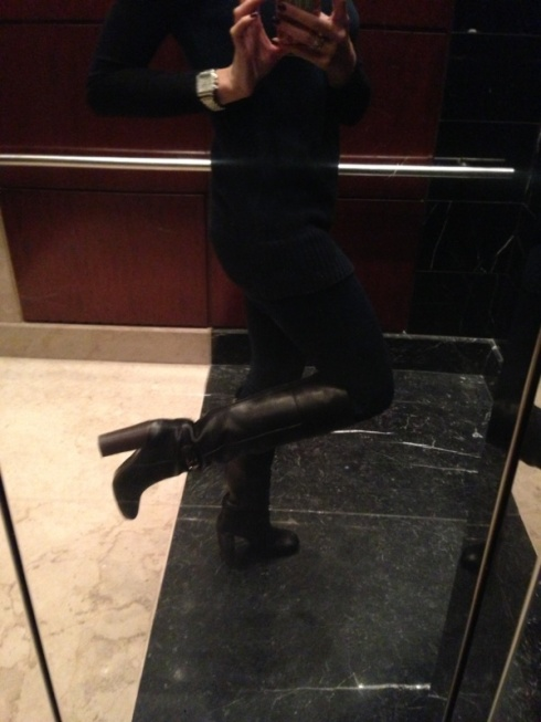 11:30am - Head downstairs for meeting. Must take elevator because my TB boots are so tall I worry I will fall!!