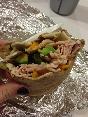 Eat a turkey and avocado wrap.