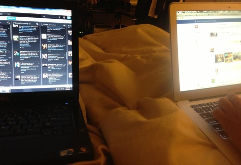 10:30pm - Snuggled next to Ramsey. I'm on Tweet Deck, he's on Facebook. We are so damn social.