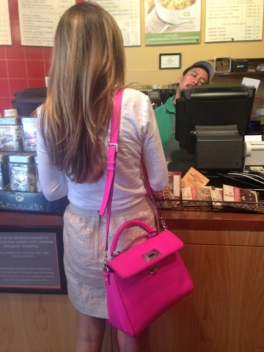 12:15pm - Go to Panera with Lauren. Is that not the prettiest bag?!