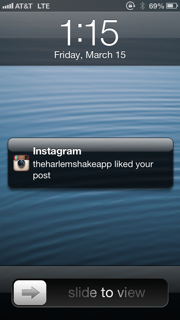 1:15pm - Get really excited because the Harlem Shake liked my picture!