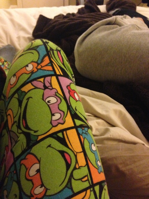 8:30pm - Home for the night. Feeling so exhausted! I actually feel asleep next to Ramsey watching 20/20. When I woke up I turned on Sisterhood of the Traveling Pants, Pt 2. I immediately start crying...I love this movie!!! And I love these ninja turtle PJ pants.