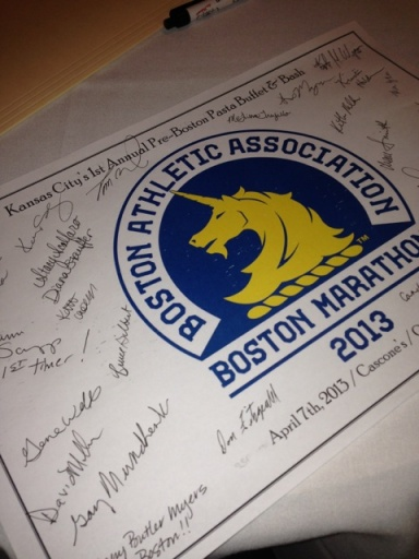 Placemat signed by the Boston Bound KC runners.
