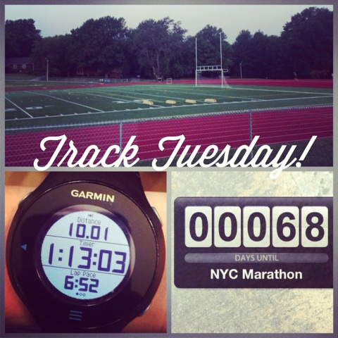 Another rockin track workout! 4 1600 repeats, all under 6:25.
