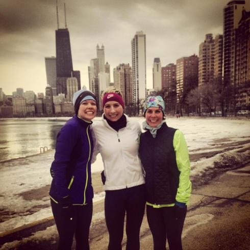 Running along Lake Michigan with Stacy and Diana.