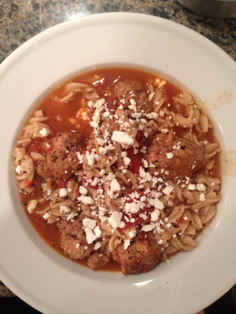 Instead of ground beef, I use ground turkey. This was an awesome Turkey Meatball recipe from my Runner's World cookbook.