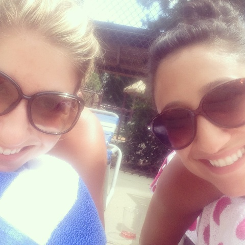 Pool time with Sarah.