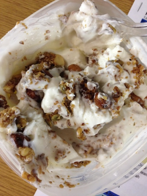 maple nut crunched mixed in plain Fage Greek yogurt.