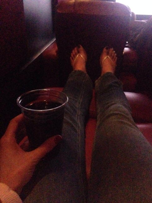 Boozy movie Saturday night. I LOVE the theater we went to!! We can get doubles of wine, and recline! And Gone Girl was a pretty awesome movie.