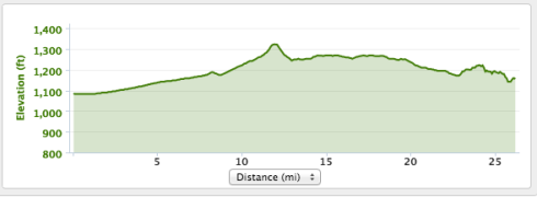 I didn't even notice the climb the first half! This is from my Garmin.